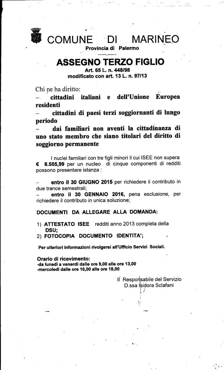 Comune di Marineo Assegno terzo figlio |
