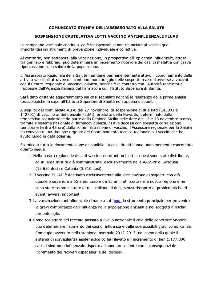 comunicato stampa ass. salute